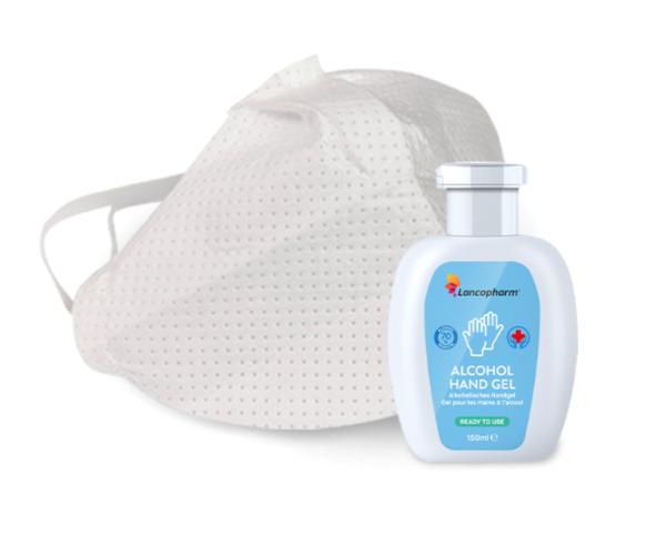 Hygiene Set - 3 TakeCair Masken + 2x 150ml Desinfektionsgel