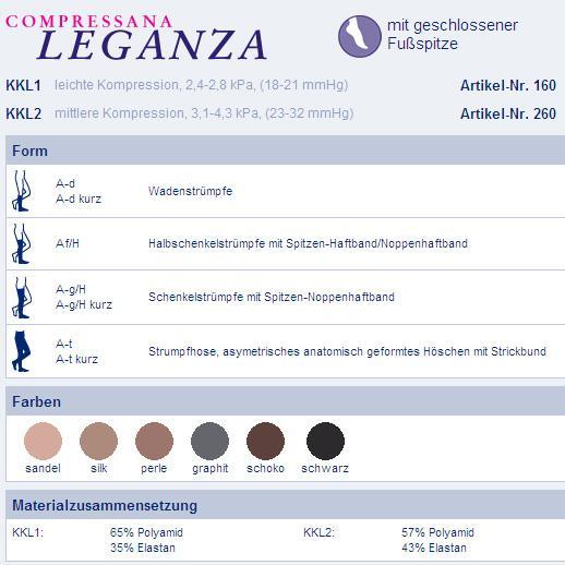 Kompressionsstrümpfe Compressana Leganza